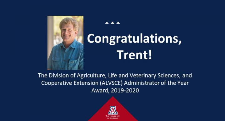 Congratulations, Trent! image of Trent's headshot on blue background