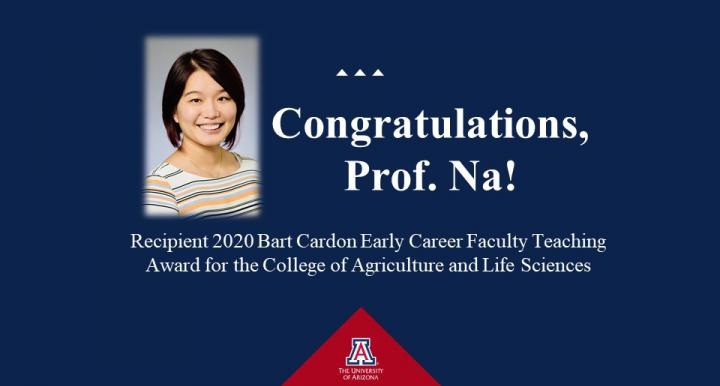 Na Zuo pictured as recipient of Bart Cardon Early Career Faculty Teaching award