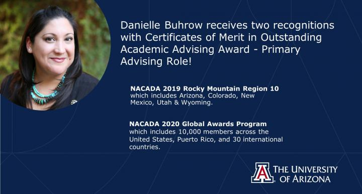 Danielle Buhrow NACADA regional and global awards recognition 2019-2020
